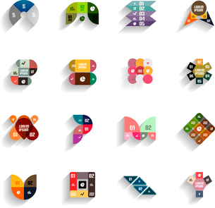 Set of 3d flat geometric abstract icons for mobile apps, business templates, web bannersのイラスト素材 [FYI03097507]