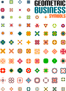 Set of colorful editable business symbols   business concepts   geometric shapes   decoration   techのイラスト素材 [FYI03097558]