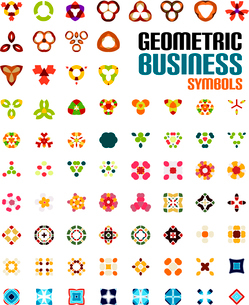 Set of colorful editable business symbols   business concepts   geometric shapes   decoration   techのイラスト素材 [FYI03097565]