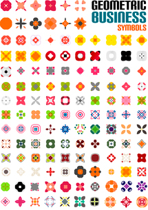 Set of colorful editable business symbols   business concepts   geometric shapes   decoration   techのイラスト素材 [FYI03097567]
