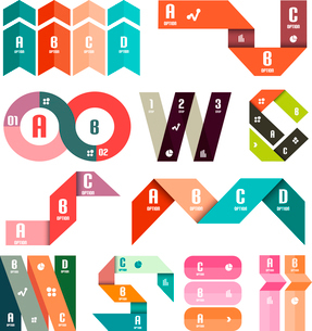 Set of infographic modern templates - stripes, ribbons, lines. For banners, business backgrounds, prのイラスト素材 [FYI03097590]