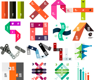 Set of infographic modern templates - stripes, ribbons, lines. For banners, business backgrounds, prのイラスト素材 [FYI03097594]