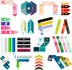 Set of infographic modern templates - stripes, ribbons, lines. For banners, business backgrounds, prのイラスト素材 [FYI03097602]