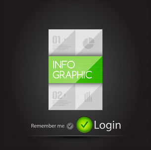 Metallic infographic with green element on black for business background | numbered banners | busineのイラスト素材 [FYI03097614]