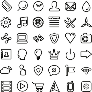 Web line icon set. Ultra thin icons isolated on whiteのイラスト素材 [FYI03097707]