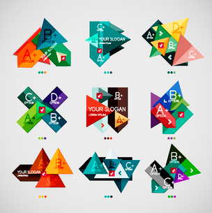 Collection of modern business infographic templates made of abstract geometric shapes. Option bannerのイラスト素材 [FYI03097952]