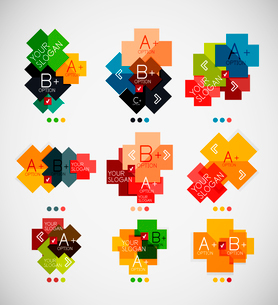 Geometrical shaped infographic option banners. For infographics, business backgrounds, technology teのイラスト素材 [FYI03097966]