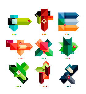 Collection of abstract colorful geometric shapes isolated on white for business background   numbereのイラスト素材 [FYI03098086]