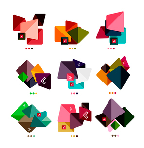 Collection of abstract colorful geometric shapes isolated on white.  For business background   numbeのイラスト素材 [FYI03098087]