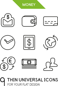 Collection of money | finance trendy thin line icons for your flat design isolated on whiteのイラスト素材 [FYI03098090]