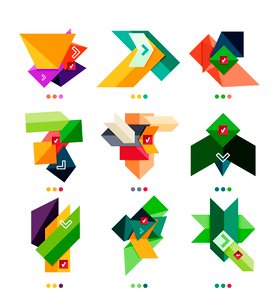 Collection of abstract colorful geometric shapes isolated on white. For business background   numberのイラスト素材 [FYI03098091]
