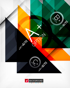 Business geometric infographic poster. Paper geometric shapes with options and space for text. Can bのイラスト素材 [FYI03098136]