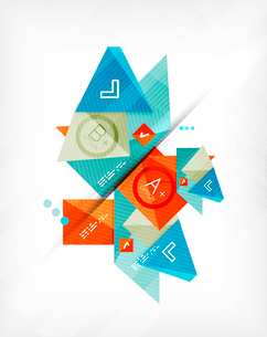 Futuristic abstract 3d infographic composition. Paper geometric shapes with options and space for teのイラスト素材 [FYI03098154]