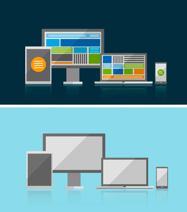 Vector responsive ui flat design concept. Can be used for business / technology presentations, printのイラスト素材 [FYI03098173]