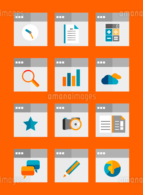 Set of flat universal icons. Can be used for apps, print support, production, web designのイラスト素材 [FYI03098184]