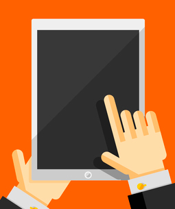 Businessman's hand holding tablet trendy flat designのイラスト素材 [FYI03098185]