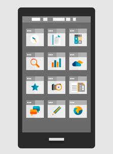 Mobile phone apps trendy flat designのイラスト素材 [FYI03098186]
