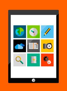 Tablet apps trendy flat designのイラスト素材 [FYI03098188]