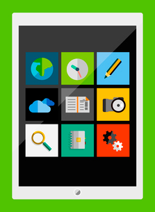 Tablet apps trendy flat designのイラスト素材 [FYI03098189]