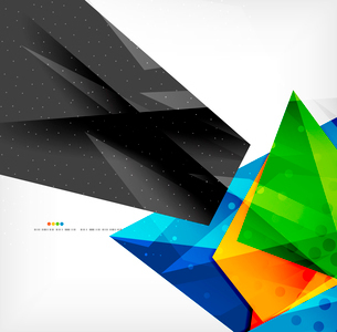 Abstract colorful overlapping shapes 3d compositionのイラスト素材 [FYI03098558]