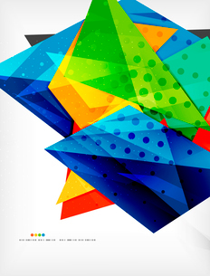 Abstract colorful overlapping shapes 3d compositionのイラスト素材 [FYI03098562]