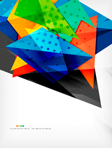 Abstract colorful overlapping shapes 3d compositionのイラスト素材 [FYI03098563]