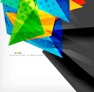 Abstract colorful overlapping shapes 3d compositionのイラスト素材 [FYI03098579]