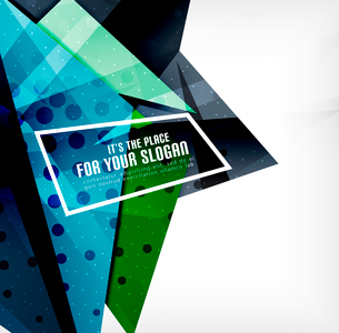Modern 3d glossy overlapping triangles in different colors with texture and light effects. Businessのイラスト素材 [FYI03099382]