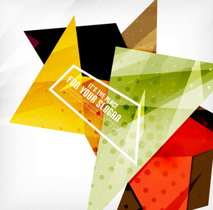 Modern 3d glossy overlapping triangles in different colors with texture and light effects. Businessのイラスト素材 [FYI03099404]