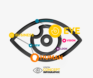 Vision eye infographic conceptual composition with key words - workflow layout, number options, webのイラスト素材 [FYI03099810]