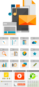 Mobile apps flat design concept | app icons and mobile device collectionのイラスト素材 [FYI03099955]