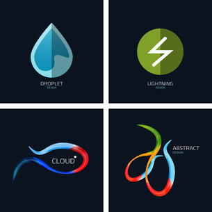 Business icons concept collection. Water drop, lightning, cloud, abstract shapeのイラスト素材 [FYI03099962]