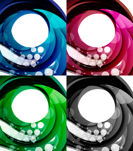Set of abstract swirl backgrounds - 4 design templatesのイラスト素材 [FYI03100107]