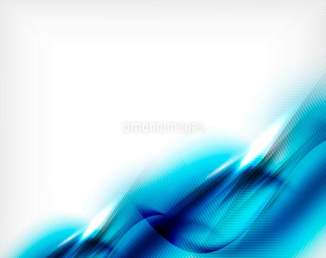 Blue aqua wave designed business poster. Illustration of blue color blurred waves on whiteのイラスト素材 [FYI03100121]
