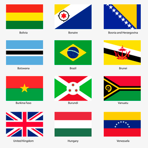Set  Flags of world sovereign states. Vector illustration. Set number 3. Exact colors. Easy changes.のイラスト素材 [FYI03100135]