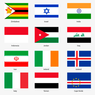 Set  Flags of world sovereign states. Vector illustration. Set number 6. Exact colors. Easy changes.のイラスト素材 [FYI03100136]
