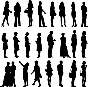 Black silhouettes of beautiful mans and womans on white background. Vector illustration.のイラスト素材 [FYI03100142]