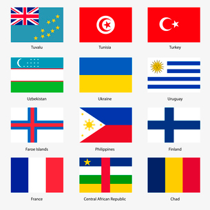 Set  Flags of world sovereign states. Vector illustration. Set number 16. Exact colors. Easy changesのイラスト素材 [FYI03100145]