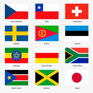 Set  Flags of world sovereign states. Vector illustration. Set number 17. Exact colors. Easy changesのイラスト素材 [FYI03100149]