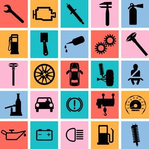 Collection flat icons. Car symbols. Vector illustration.のイラスト素材 [FYI03100152]
