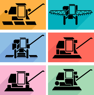 Collection flat icons with long shadow. Agricultural vehicles harvesting combine symbols. Vector illのイラスト素材 [FYI03100160]