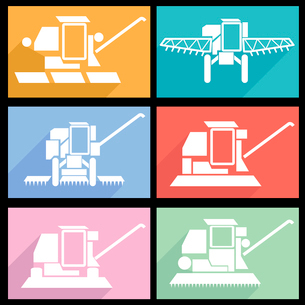 Collection flat icons with long shadow. Agricultural vehicles harvesting combine symbols. Vector illのイラスト素材 [FYI03100163]