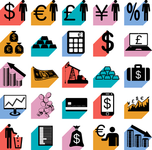 Collection flat icons with long shadow.  Finance symbols. Vector illustration.のイラスト素材 [FYI03100167]