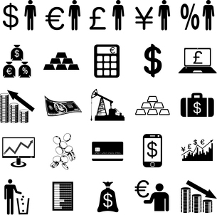 Collection flat icons.  Finance symbols. Vector illustration.のイラスト素材 [FYI03100169]