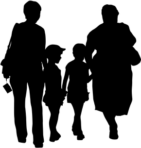 Silhouette of family, mother and children and grandmother on white background. Vector illustration.のイラスト素材 [FYI03100174]