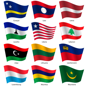 Set  Flags of world sovereign states. Vector illustration. Set number 9. Exact colors. Easy changes.のイラスト素材 [FYI03100178]