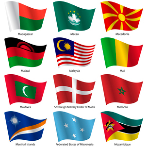 Set  Flags of world sovereign states. Vector illustration. Set number 10. Exact colors. Easy changesのイラスト素材 [FYI03100179]