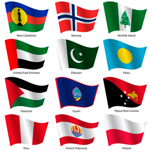 Set  Flags of world sovereign states. Vector illustration. Set number 12. Exact colors. Easy changesのイラスト素材 [FYI03100180]