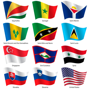 Set  Flags of world sovereign states. Vector illustration. Set number 14. Exact colors. Easy changesのイラスト素材 [FYI03100183]