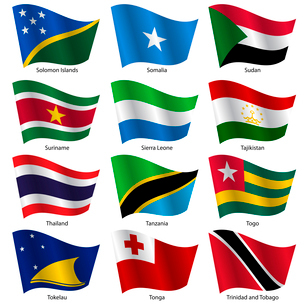 Set  Flags of world sovereign states. Vector illustration. Set number 15. Exact colors. Easy changesのイラスト素材 [FYI03100185]